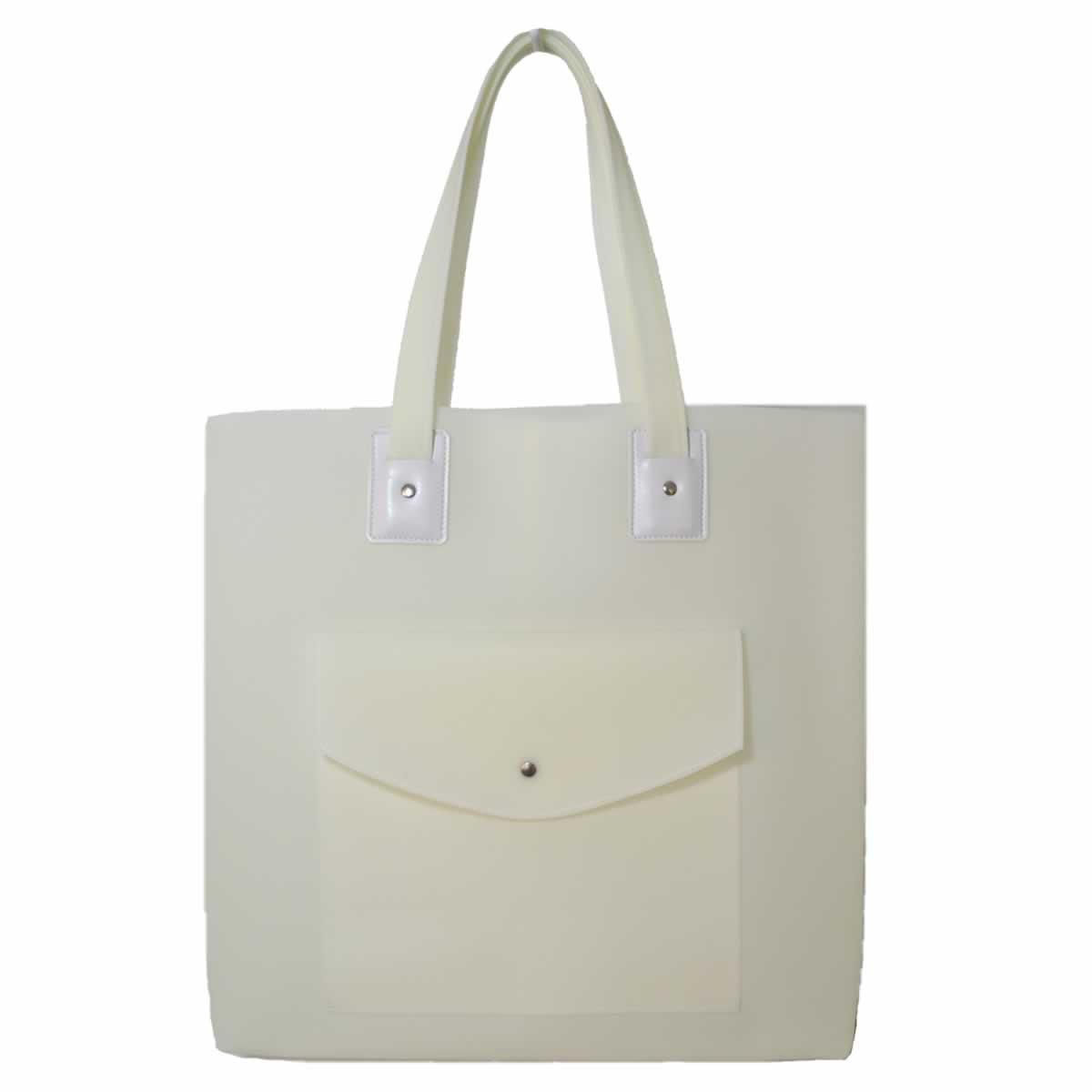 Bolsa de praia branca com bolso