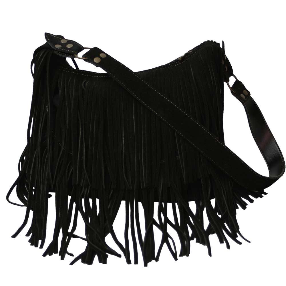 Bolsa camurça preta Fiônia