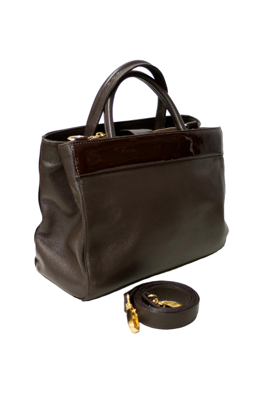 Bolsa satchel em couro café Bruxelas
