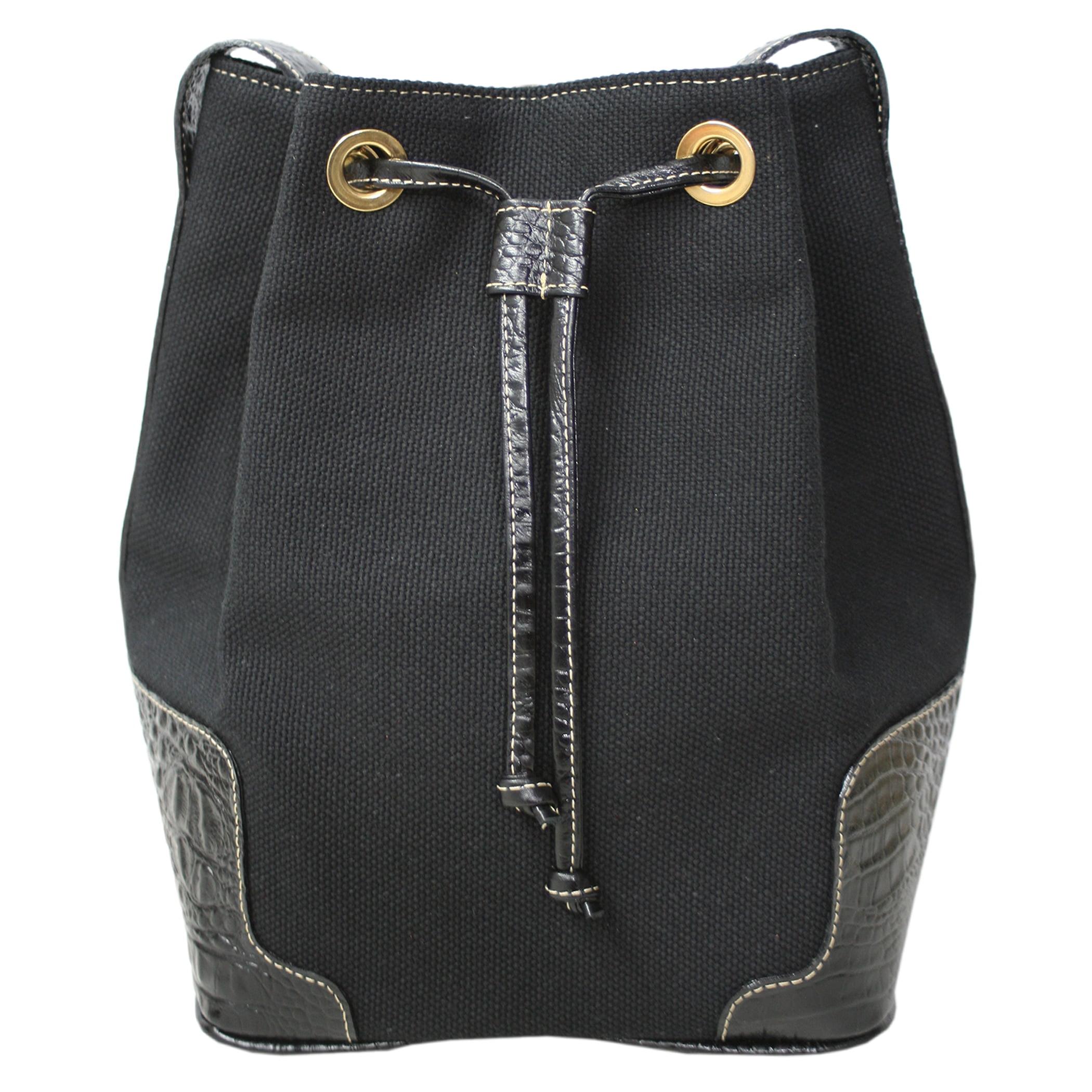 Bolsa saco em lona e couro preto Taurus