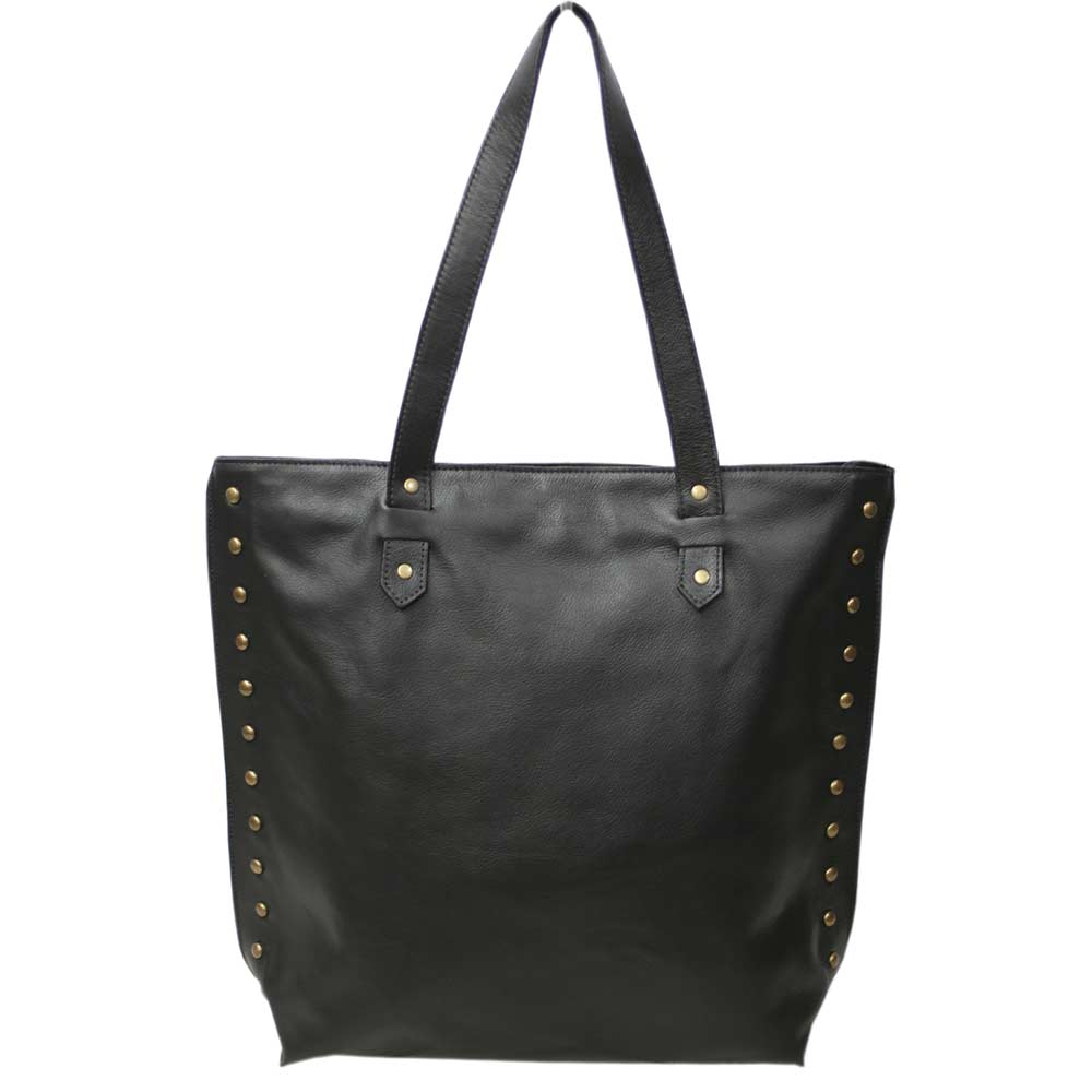Sacola shopper em couro preto elegance