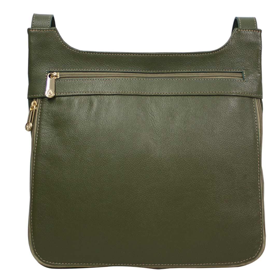 Bolsa transversal feminina em couro verde Marselha