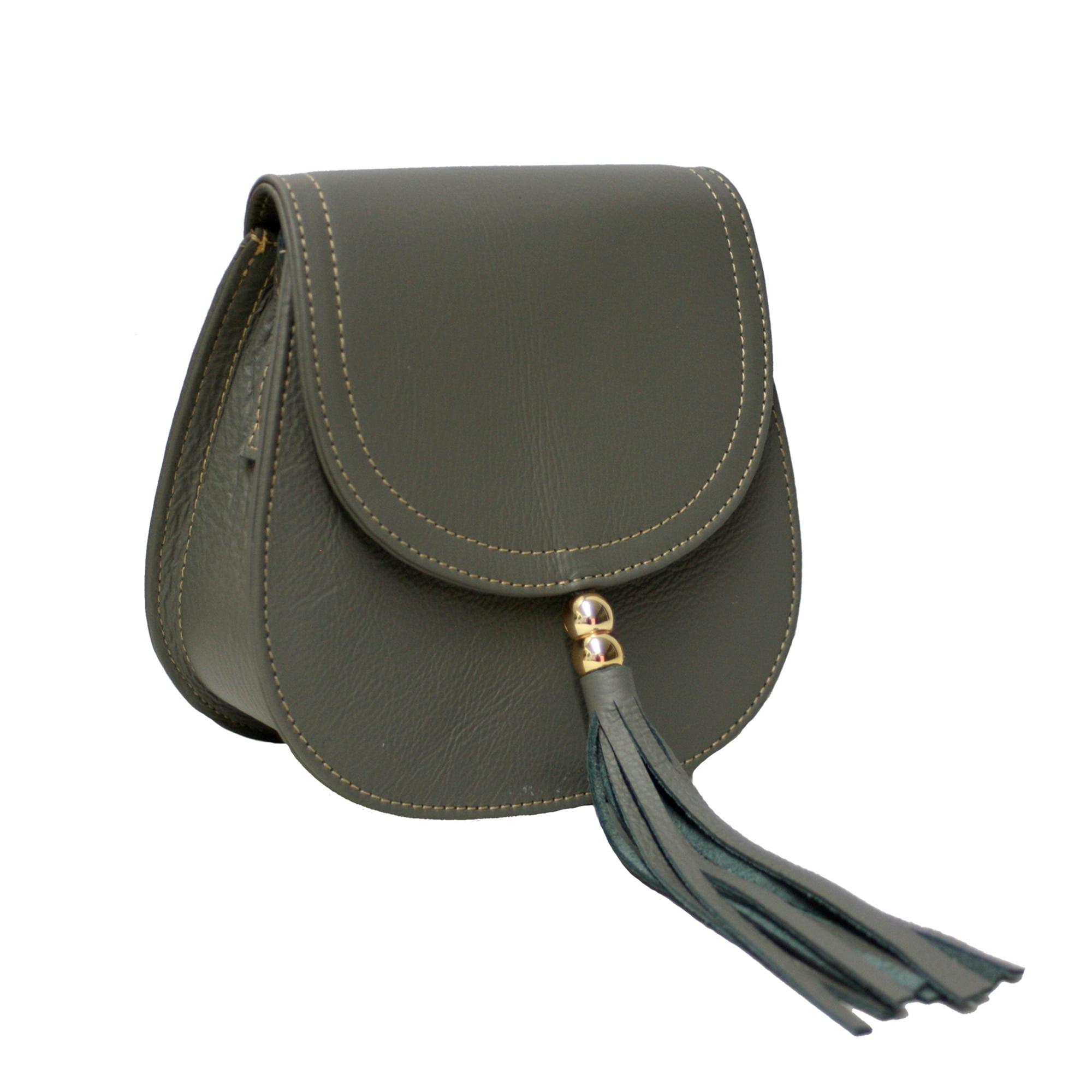 Bolsa de couro estruturada cinza Nápoles