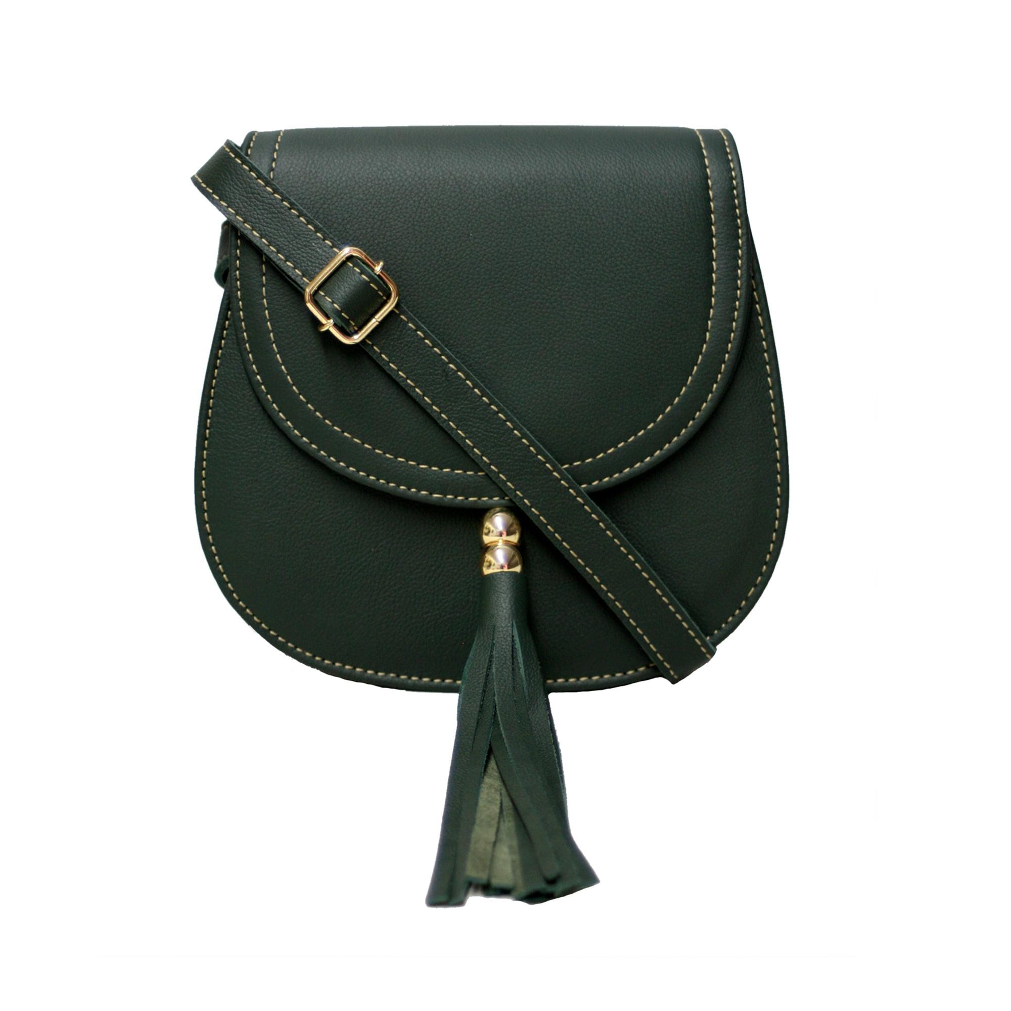 Bolsa de couro estruturada verde Nápoles