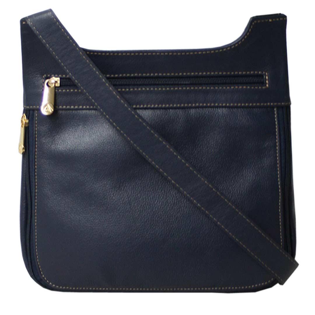 Bolsa transversal feminina em couro azul Marselha