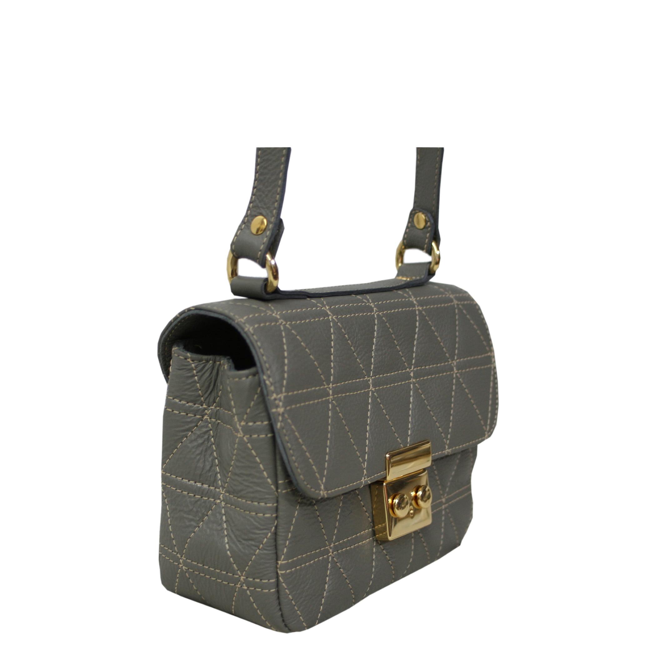 Bolsa transversal matelassê cinza em couro Lyra