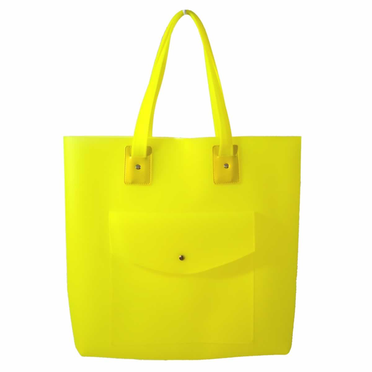 Bolsa de praia amarela com bolso