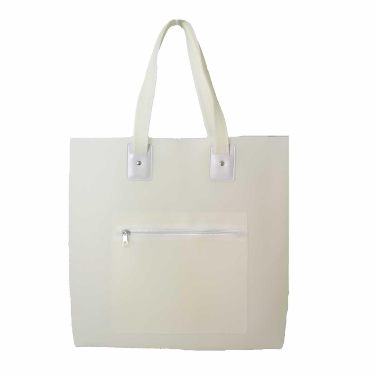 Bolsa de praia branco com bolso zíper