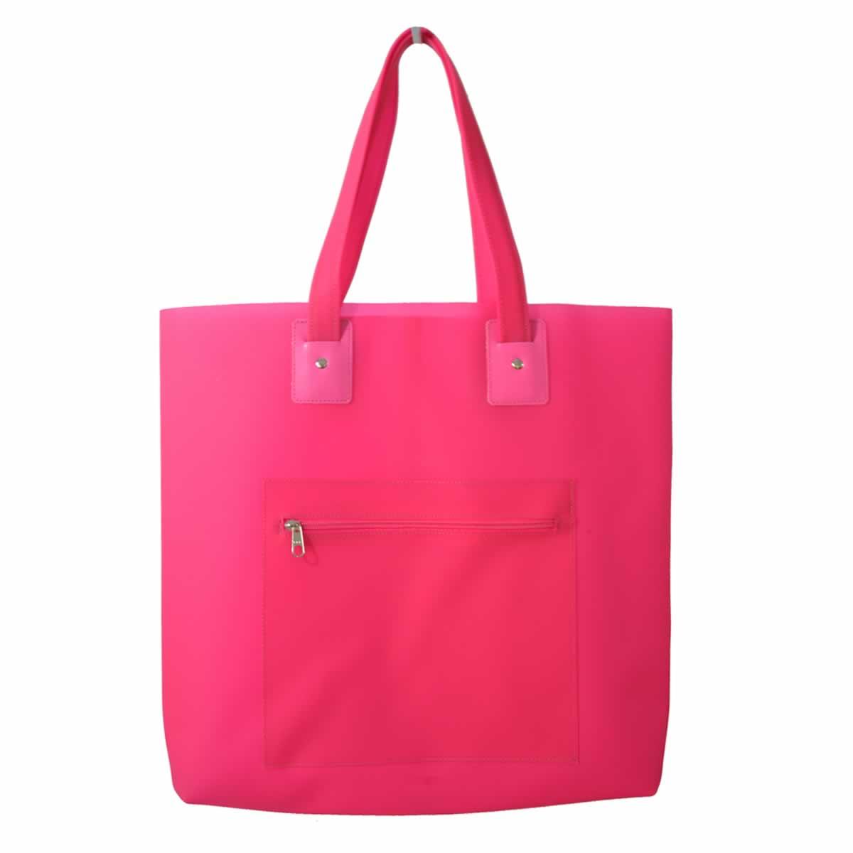 Bolsa de praia rosa com bolso zíper