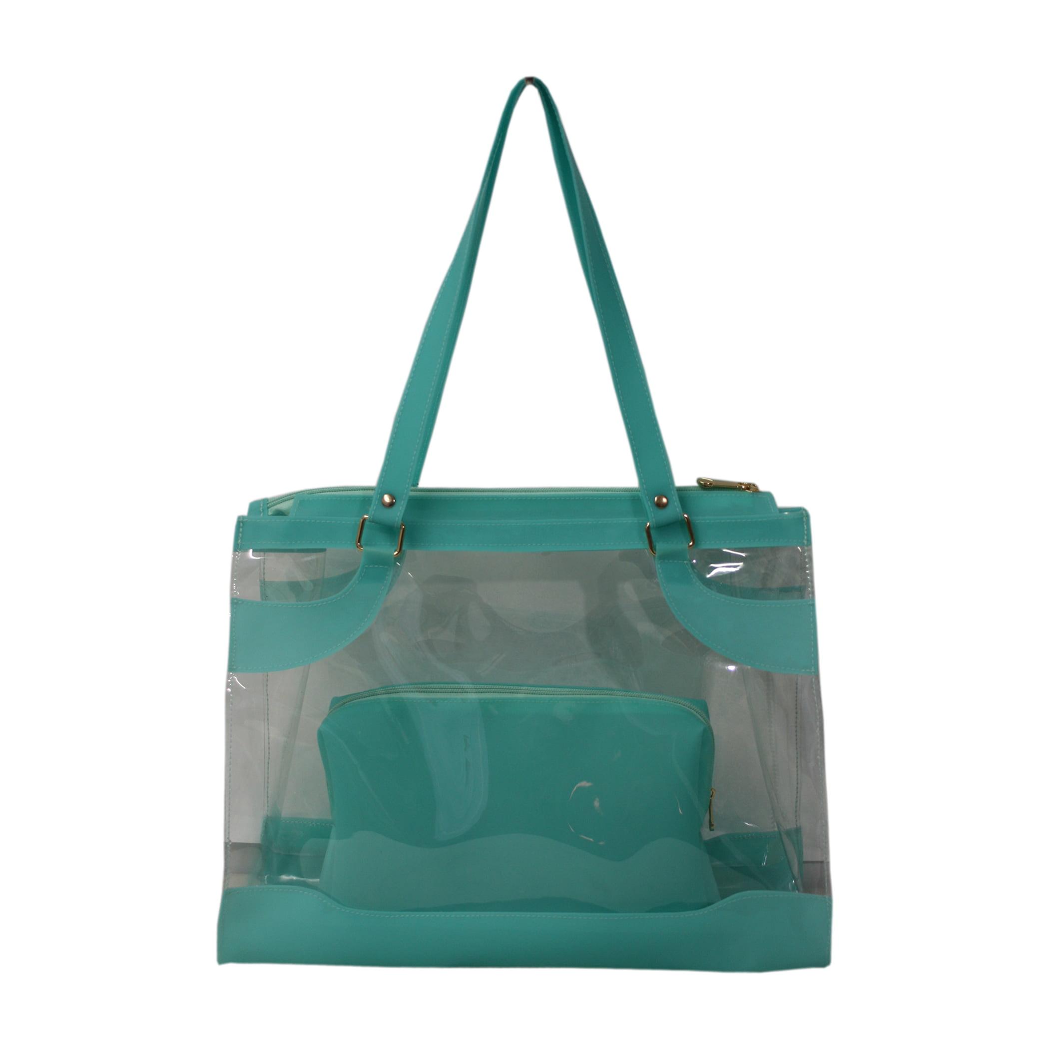 Bolsa de praia verde e transparente Kabira