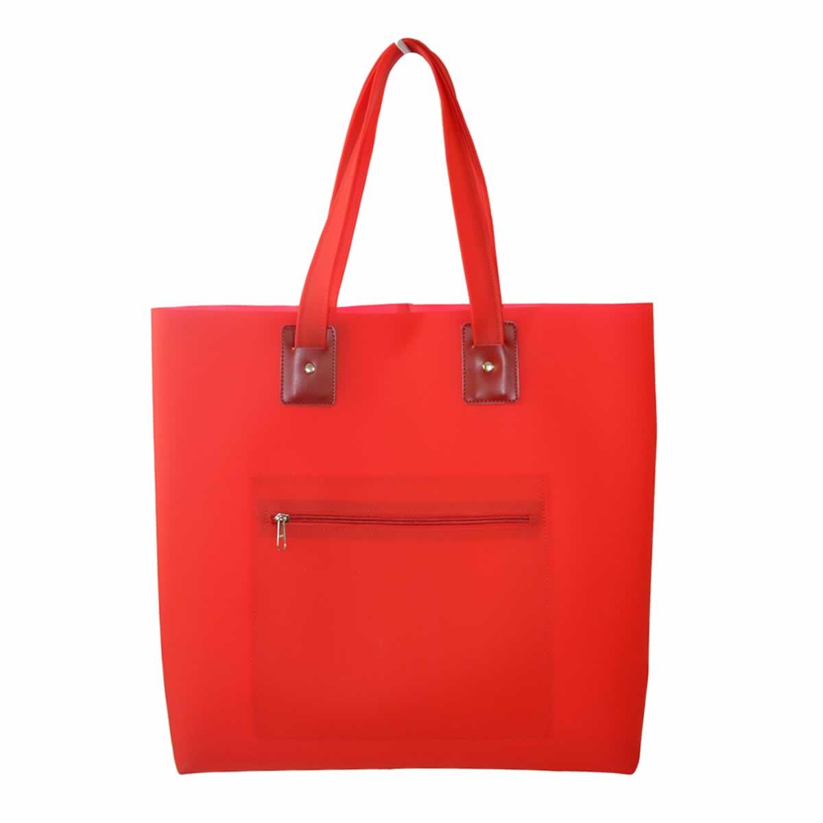 Bolsa de praia vermelha com bolso zíper