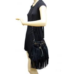 Bolsa em camurça saquinho preta Korkula