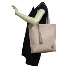 bolsa shopper Paris em couro bege