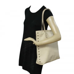 Sacola shopper em couro bege elegance