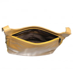 Bolsa transversal feminina em couro amarelo Marselha