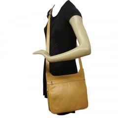 Bolsa transversal feminina em couro amarelo Montpellier