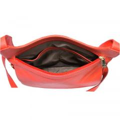 Bolsa transversal feminina em couro vermelho Montpellier