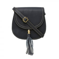 Bolsa de couro estruturada azul Nápoles