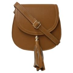 Bolsa de couro estruturada caramelo Nápoles