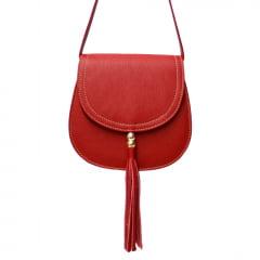 Bolsa de couro estruturada vermelha Nápoles