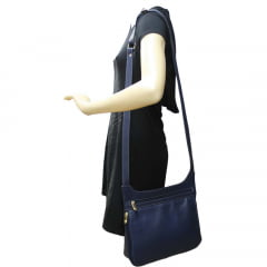 Bolsa transversal feminina em couro azul Montpellier