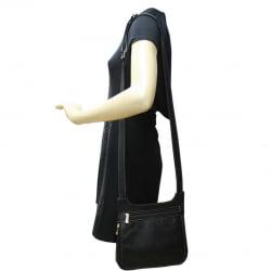 Bolsa transversal feminina em couro preto Marselha
