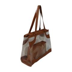 Bolsa de praia caramelo e transparente Kabira