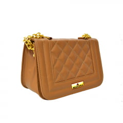 Bolsa transversal clutch caramelo Glamour