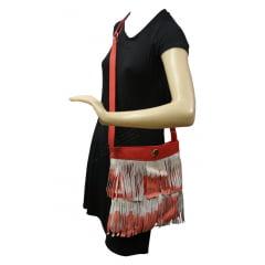 Bolsa couro franja tie dye vermelha Allegra